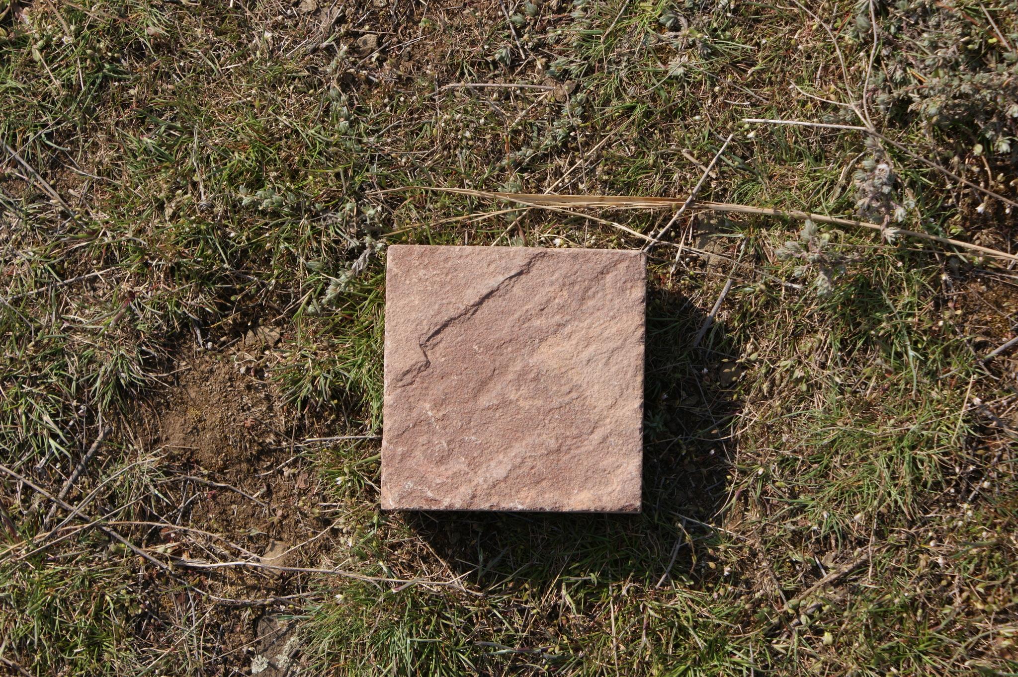Плитка песчаник пиленный Терракот (красный) на траве