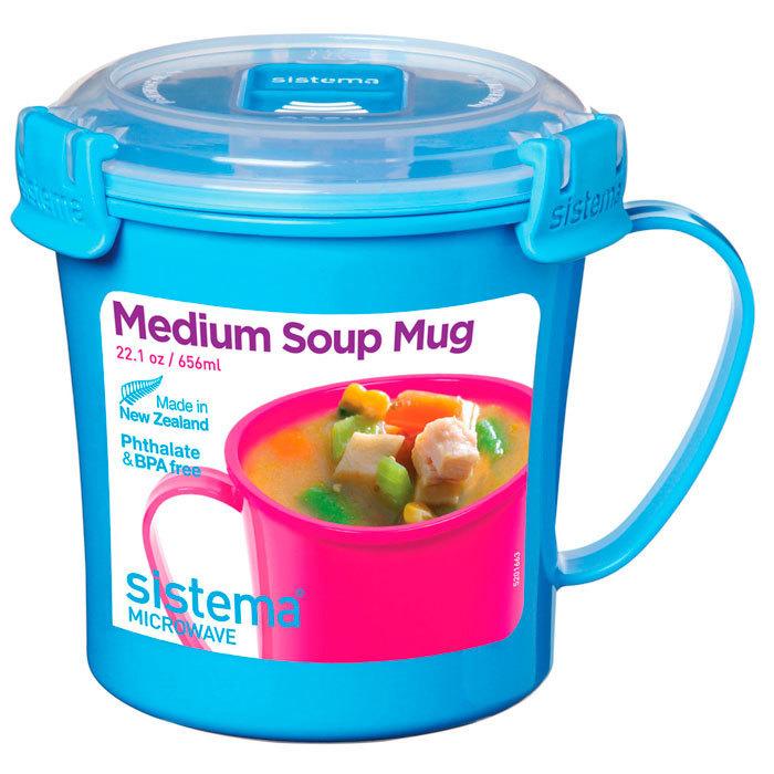 "Кружка суповая для СВЧ Sistema ""Microwave"" 656 мл, цвет Голубой"