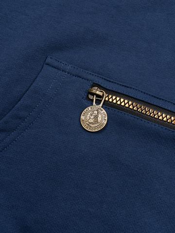 Худи цвета синего денима с логотипом, без лампасов