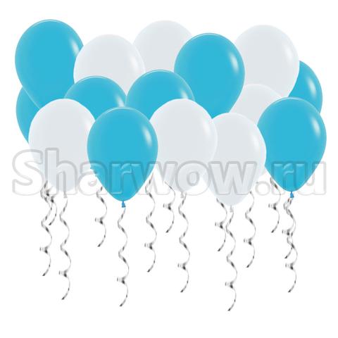 Воздушные шары с гелием под потолок Синяя бирюза, голубой и белый