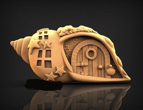 Силиконовый молд № 418 Домик ракушка 2 D   № 1  ( серия домики для гномов и фей)