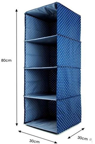Подвесной кофр для вещей, 4 отделения, 30*30*80 см (темно-синий в горошек)