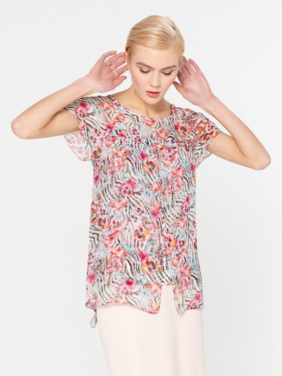 Блуза Г543-306 - Оригинальная двойная блуза из комбинированной ткани. Сочетание трикотажа и шифона с одинаковым принтом делают блузу невероятно комфортной и женственной . Такой фасон смотрится весьма необычно и привлекает внимание.