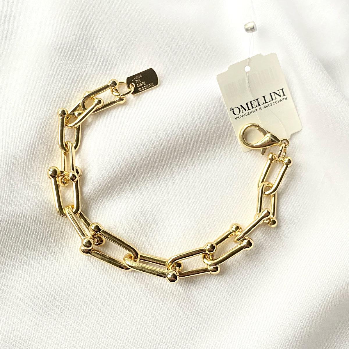 Браслет-цепь с U-звеньями золотой (сталь, родирование)