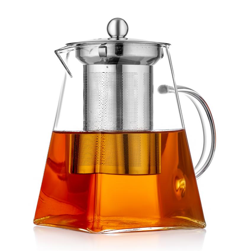 Стеклянные заварочные чайники Квадратный заварочный стеклянный чайник с фильтром, 700 мл 1009750.PNG