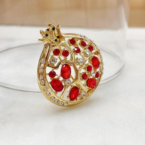 Брошь Гранат цирконы красный золотой глянец