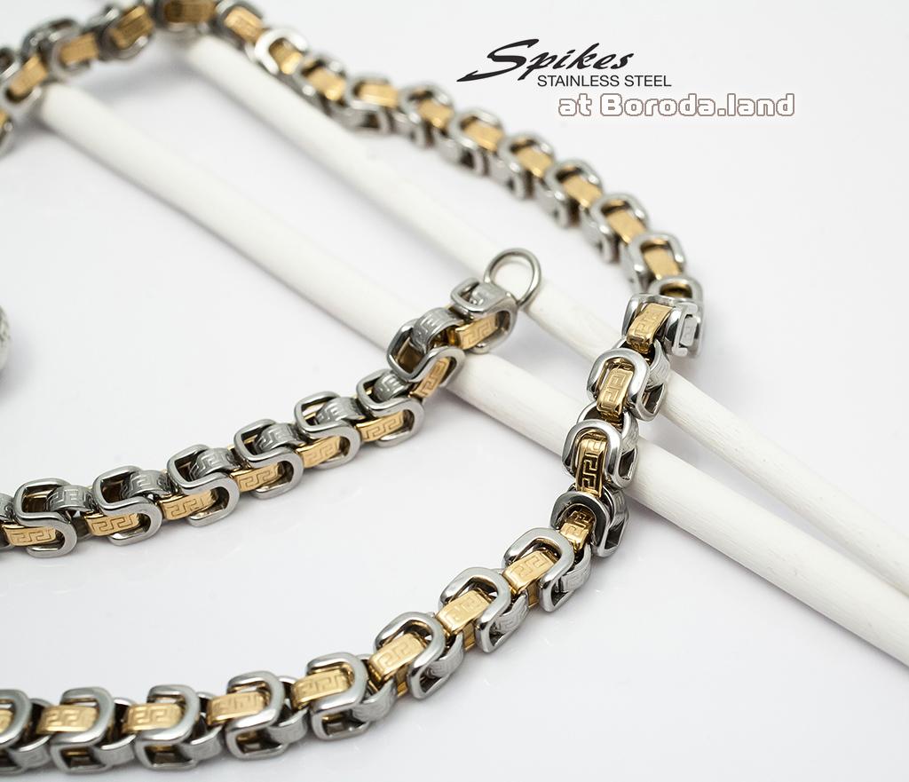 SSNM-1365 Крупная мужская цепь «Spikes» из ювелирной стали (62 см) фото 02