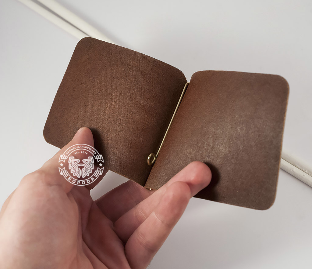 BY10-03-12 Кожаный зажим «Индийский огурец» для денег с металлическим держателем фото 04