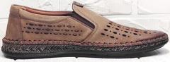 Мужские летние туфли мокасины кожаные casual стиль Luciano Bellini 91737-S-307 Coffee.