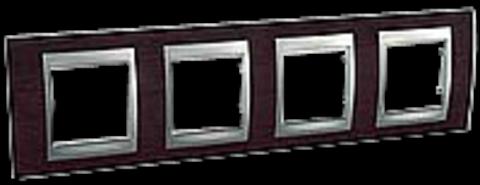 Рамка на 4 поста. Цвет Венге-алюминий. Schneider electric Unica Top. MGU66.008.0M3