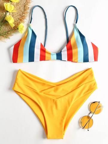 купальник желтый радуга с завышенной талией раздельный Yellow Rainbow 1