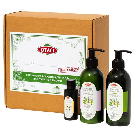 """Подарочный набор OTACI для волос """"Восставновление и укрепление"""" букет из 10 трав и масел."""