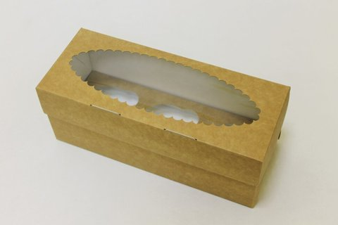 Коробка для 3 капкейков 25*10*10 с окном, крафт/белая