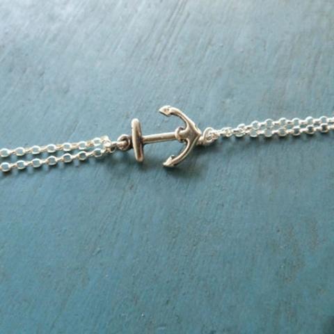 Тонкий браслет с якорем (серебро)