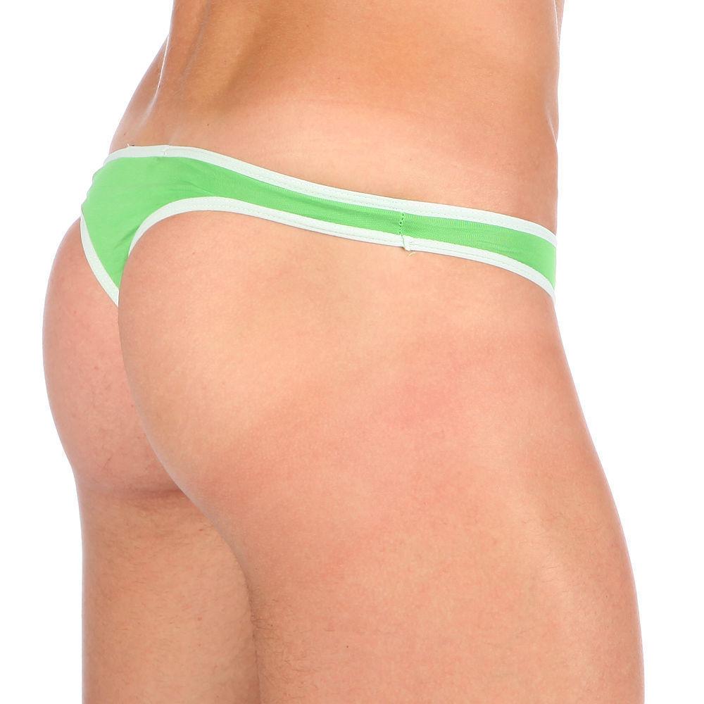 Мужские трусы стринги Van Baam зеленые с белой окантовкой