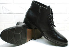 Модные мужские ботинки классика зима Ikoc 3640-1 Black Leather.