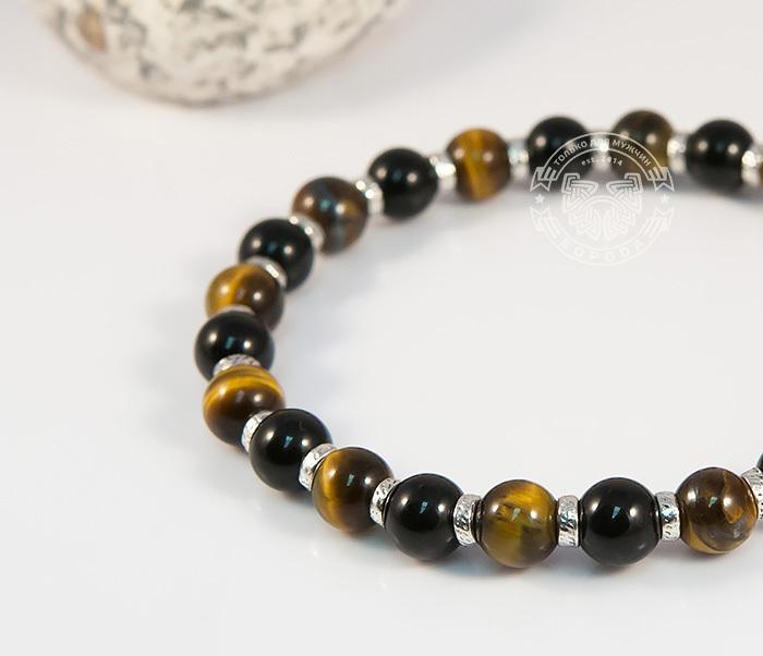 BS703 Яркий мужской браслет из тигрового глаза и агата, ручная работа, «Boroda Design» фото 02