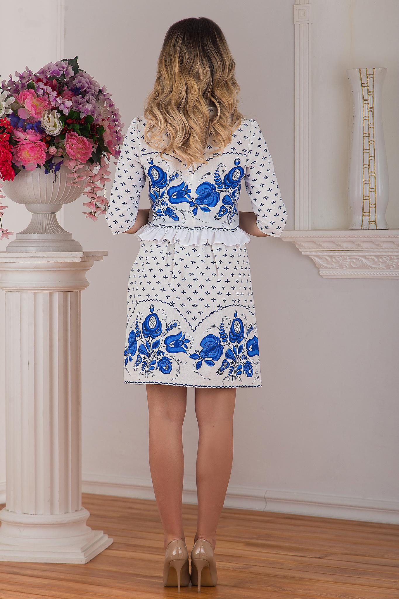 Блуза и юбка льняные Гжель в русском стиле
