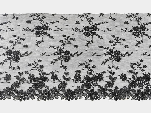Вышивка на сетке, 19,5 см, черный, цветочки 3D, правая сторона, (Артикул: VS-1006), м