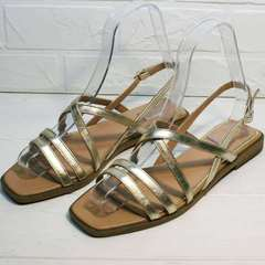 Женские сандали с тонкими ремешками Wollen M.20237D ZS Gold.