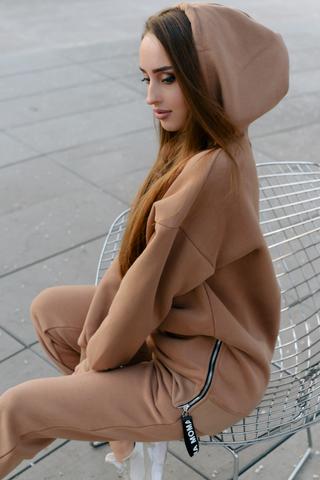 Спортивный костюм на флисе коричневый оптом