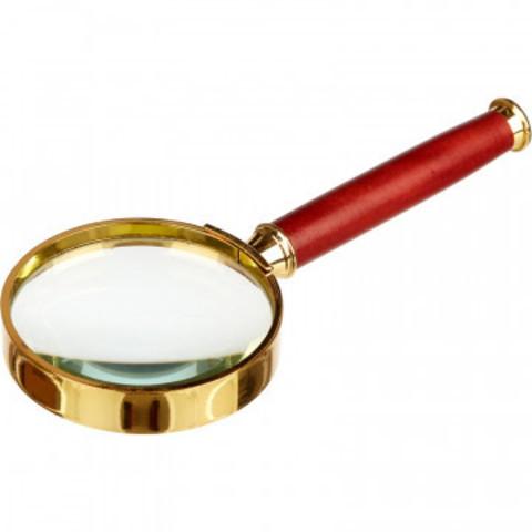 Лупа классическая, увеличение х5, диаметр 50мм, золото с коричневой ручкой