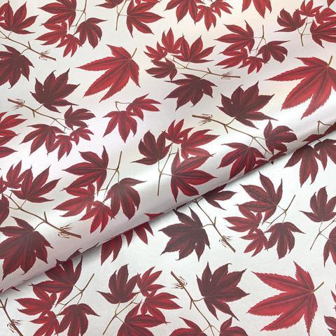 Бумага подарочная декоративная Кленовые листья на серебре