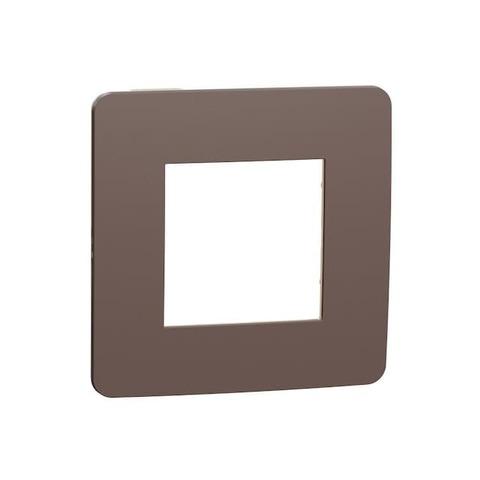 Рамка на 1 пост. Цвет Шоколад/бежевый. Schneider Electric Unica Studio. NU280219