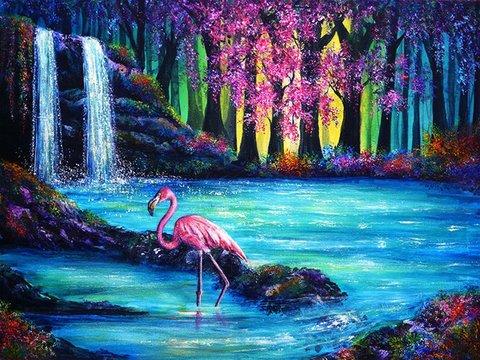 Алмазная Мозаика 30x40 Фламинго в воде