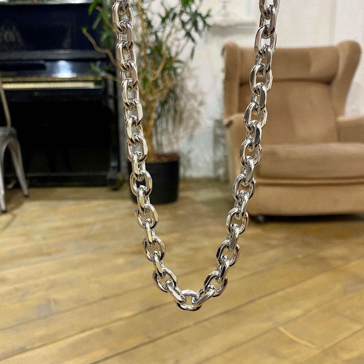 Колье-цепь якорного плетения (серебристый)