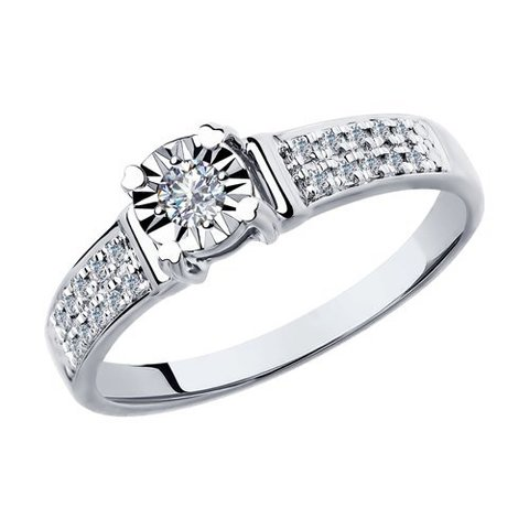 1011803 - Кольцо из белого золота с бриллиантами