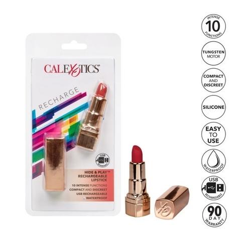 Перезарежаемый мини-вибромассажер в виде помады Красный Hide & Play Lipstick California Exotic Novelties