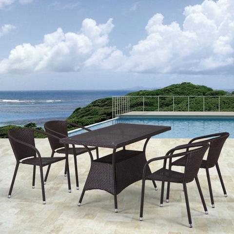 Обеденный комплект плетеной мебели из искусственного ротанга T198D/Y137C-W53 Brown 4Pcs