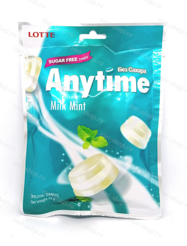 Карамель со вкусом мяты Anytime Milk Mint, Lotte, Корея, 74 гр.