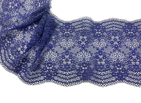 Кружево эластичное темно-синий/люрекс 20 см