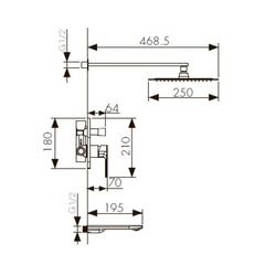 Смеситель KAISER Linear 59077 скрытый монтаж с верхним душем и изливом схема