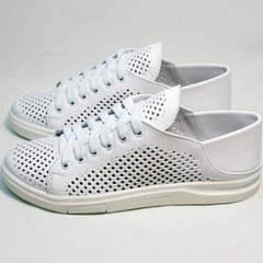 Кожаные кеды с перфорацией женские туфли без каблука на шнурках ZiKo KPP2 Wite.