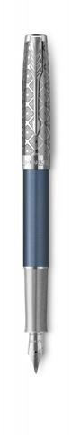 Перьевая ручка Parker Sonnet Premium Refresh BLUE, перо 18K, толщина F, цвет чернил black, подарочной упаковке123