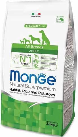 15 кг. MONGE Сухой корм для собак с кроликом, рисом и картофелем Dog Speciality Adult