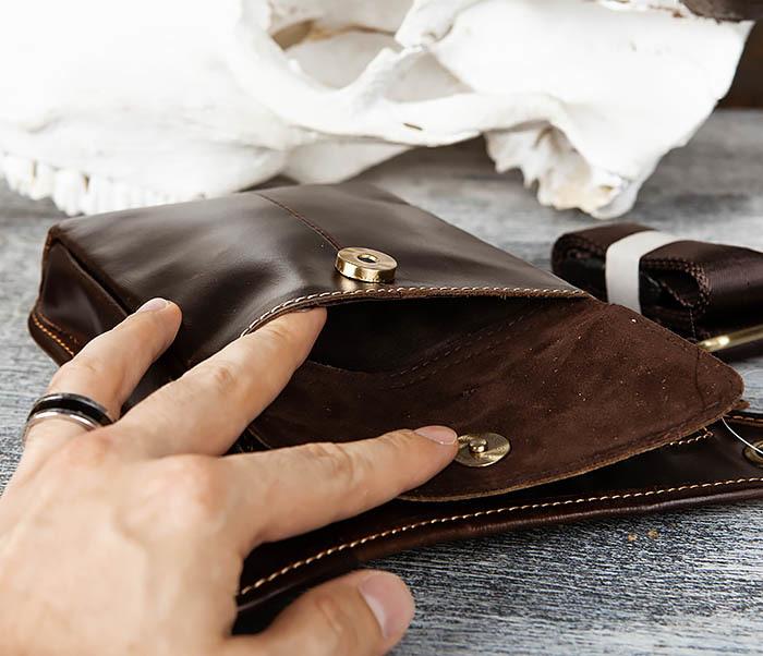 BAG442-2 Набедренная кожаная сумка коричневого цвета фото 06
