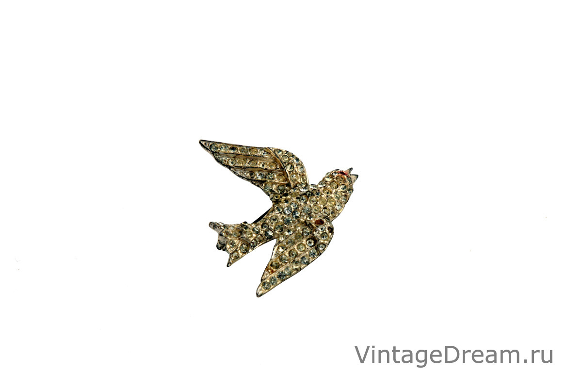 Rare silver Swallow brooch by Coro, 1940s