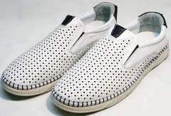 Летние мужские туфли с перфорацией Ridge Z-441 White Black.