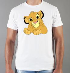 Футболка с принтом мультфильма Король лев (The Lion King, Симба) белая 002