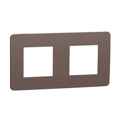 Рамка на 2 поста. Цвет Шоколад/бежевый. Schneider Electric Unica Studio. NU280419