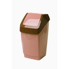 Ведро для мусора с крышкой-вертушкой М-пластика Хапс 15 л пластик бежевое (26х25х46 см)
