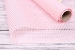 Пленка для цветов упаковочная матовая полоска тонкая Нежно-розовый / рулон 0,6*10м