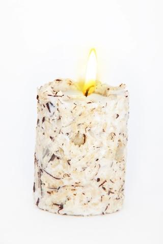 Свеча-эко ручной работы RAFAELLO со стружкой мякоти кокоса и ванилью d8 h10 см/круглая TM Aromatte