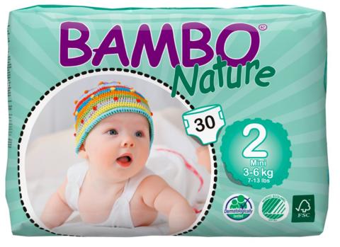 Bambo Nature. Подгузники Mini 2 (3-6 кг), 1уп/30 шт