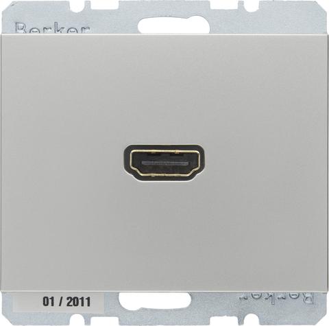 Розетка HDMI. Цвет Нержавеющая сталь. Berker (Беркер). K.5. 3315427004. Цвет Нержавеющая сталь. Berker (Беркер). K.5. 3315427004