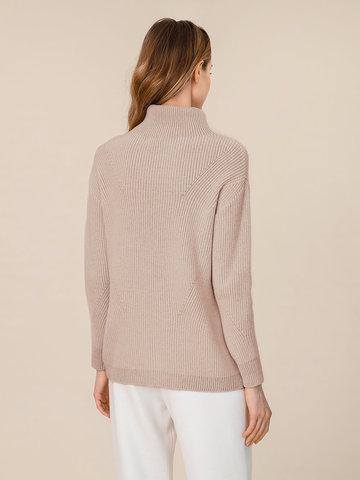 Женский свитер бежевого цвета из шерсти и кашемира - фото 2